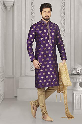 Purple Set Kurta 2 Party Of Dupion Pajama Wedding India Wear Mens 4nUS0v4