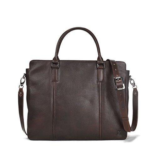 New York Slim Briefcase - TERRACOMO New York - Metropolitan Leather Briefcase 15 inch MacbookPro | Slim Business Case (Italian Dark Choc VT Leather)