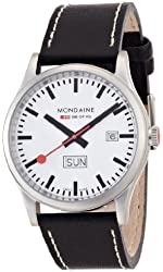 Mondaine Men's A667.30308.16SBB Day Date Leather Band Watch