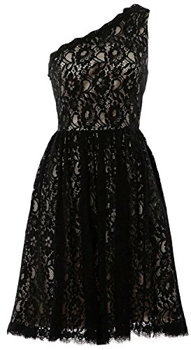 MACloth Women One Shoulder A Line Short Bridesmaid Dress Cocktail Formal Gown (26w, Black)