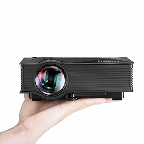 WiFi Beamer, BlitzWolf Mini Projektor mit 1200 Lumens LED Multimedia Heimkino Home Cinema Theater für Telefon / Laptop / PC / SD Karte / Play Station / TV Box / Xbox / USB Disk (Schwarz)