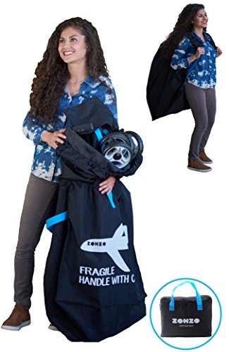 Air Travel Stroller - Zohzo Drawstring Stroller Travel Bag - For Air Travel with Double Stroller, Single Stroller, or Umbrella Stroller (Black)