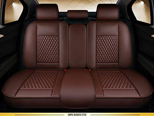 Black-White OUTOS Luxury Leather Auto Car Seat Covers 5 Seats Full Set Universal Fit HT15