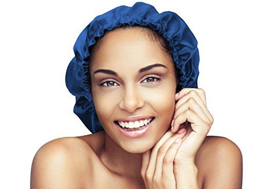 Satin Bonnet-Premium, Extra Large (XL) Satin Sleep Bonnet Cap, Double Layered, Reversible, Multi Color, (Royal Blue/Black) Adjustable Satin Cap by Glow By Daye