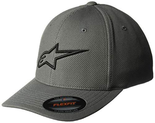 (Alpinestars Men's Logo Flexfit Mock mesh hat Curved Bill, Ageless Charcoal/Black, S/M )