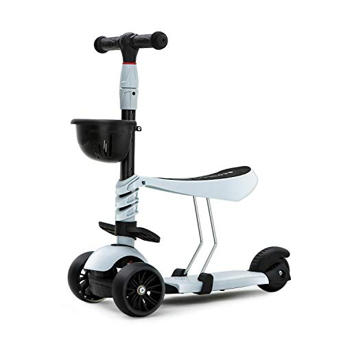KAMURES 3-in-1 | 3 Wheels Kick Scooter with Removable Seat for Kids & Toddlers, 5 Adjustable Height Kids Scooter with Extra-Wide PU Flashing Wheels, Birthday Gift for Baby Boys Girls Age 2-8 (Gray)