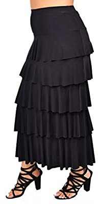 Dare2BStylish Women Boho Waterfall Tiered Layered Maxi Skirt | Reg & Plus Sizes