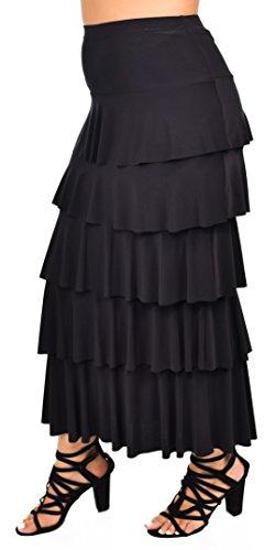 Plus Tiered Skirt - Dare2bStylish Women Boho Waterfall Tiered Layered Maxi Skirt | Reg & Plus Sizes