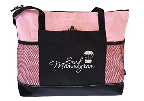 Large Travel Pink Tote Bag and Black Purse Organizer- 2 Piece Pink Mammogram Reminder, Breast Cancer Awareness Breast Cancer Awareness Bags