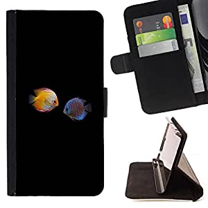 DEVIL CASE - FOR Samsung Galaxy Core Prime - Fish Love Black Minimalist Diving Coral - Style PU Leather Case Wallet Flip Stand Flap Closure Cover
