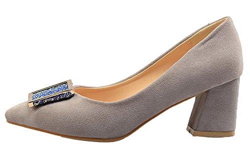 Allhqfashion Dames Geïmiteerd Suede Kitten-hakken Stevige Pull-on Pumps-schoenen Grijs