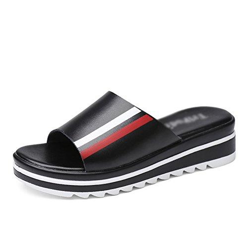 ZCJB Moda Zapatillas De Tacón Medio Mujer Verano Sandalias De Fondo Grueso Sandalias Exteriores De Muffin De Desgaste Exterior ( Color : Negro , Tamaño : EU39/UK5.5/L:24cm )