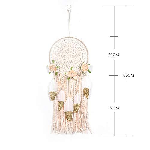 BBB&LIU Handmade Wind Chimes Wedding Decoration Dream Catcher Net Hanging Home Car Decoration Decor Creative Feather Craft Dreamcatcher,White