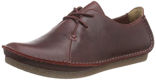 Clarks Janey Mae Ladies Derby Stringate Rosso (vitello)