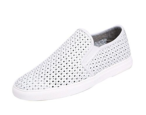 Men Oxfords Flats Shoes Summer New Hollow Breathable Board Shoes Leather Daily Casual Shoes Trend Driving Shoes Slippers ( Color : White , Size : 37 ) by GLSHI