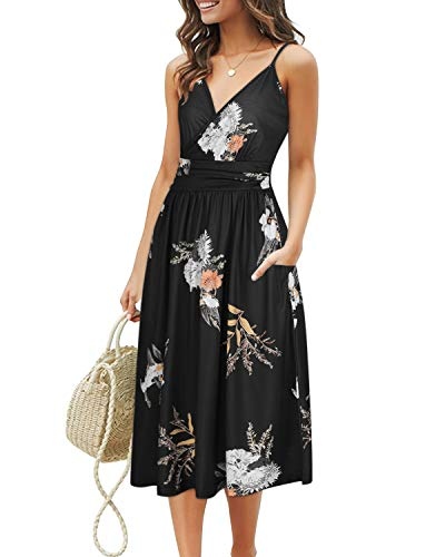 OUGES Women's Summer Spaghetti Strap V-Neck Floral Short Party Dress with Pockets(Floral10,M)