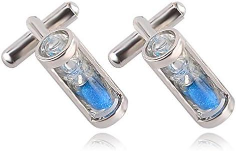 Leisial Gemelos Camisa Hombre Gemelos de Acero Inoxidable Diseño Reloj de Arena Azul para Accesorios Joyería de Ropa de Hombre Mujer 1 Par (Azul): Amazon.es: Hogar