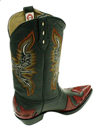 (Men's Genuine Soft Leather Western Cowboy Boots with Design)