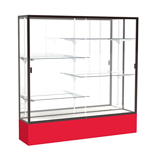 Waddell Spirit Mirror Back Display Case, 72W by 72H by 16''D, Dark Bronze Finish with Red Base by Waddell