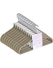 JVL Premium Range Velvet Touch Thin Space Saving Non-Slip Coat Hangers, Beige, Pack of 50