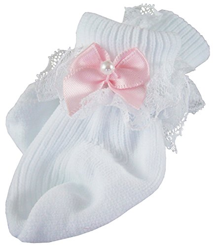 Pink Satin Bow Socks for Bitty Baby by Doll Clothes Sew Beautiful