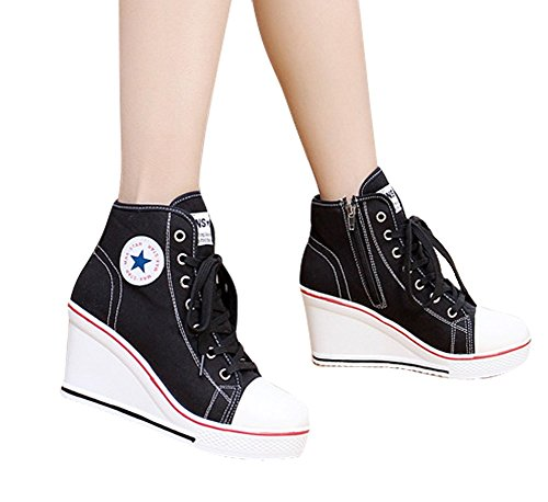 Fashion Pump Lace Shoes Women's Shoes Heeled Wedges UP Zipper Black High Side High Sneaker Canvas Padgene xIHqawx
