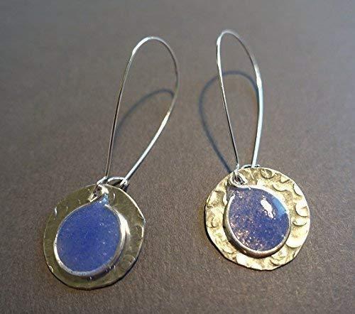 medium blue resin and aluminum hammered disc earrings