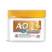 A + D Ungüento para la erupción del pañal original, protector de la piel con lanolina y vaselina, elimina la humedad, ayuda a prevenir la erupción del pañal del bebé, frasco de 1 libra.