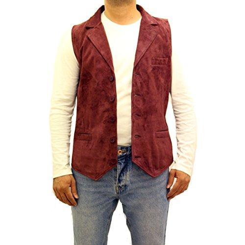 Uomo Borgogna rosso scamosciato elegante cinque bottoni stile classico giacca sportiva gilet lungo gilet