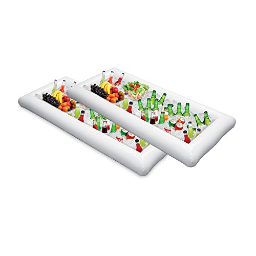 Inflatable Serving Bar Buffet Salad Food & Drink Tray,Portable Salad Bar for Football Parties, Pool Parties, BBQ,Tailgates and More(2 (Inflatable Coolers)
