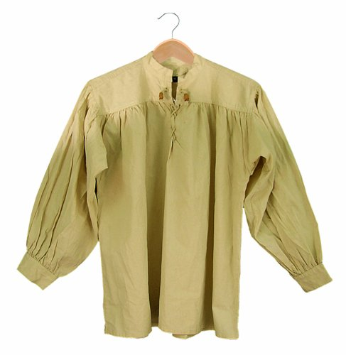 SAY Cotton Shirt Collarless Laced with Toggles, Natural, Large