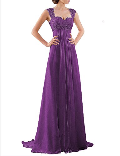 DYS Women's Empire Waist Bridesmaid Wedding Party Dress Lace Formal Evening Gown Purple US 14 ()