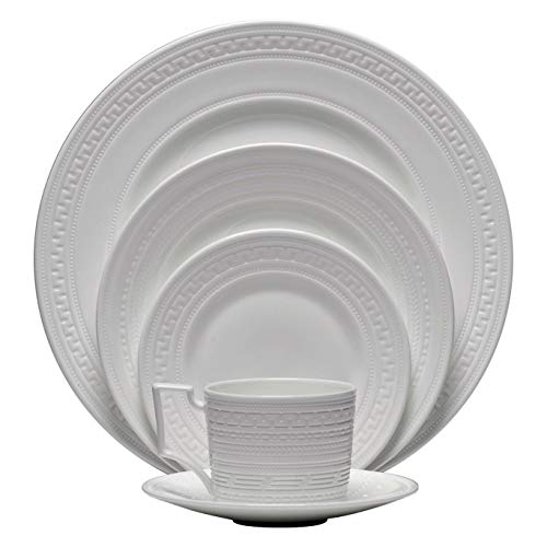 Dinnerware Set. 5 Piece Round Dinner Dish Kit For 1 Person. White Dishware With Embossed Pattern Home Kitchen Everyday Dining Plates, Teacup & Saucer. Bone China Tableware, Dishwasher, Microwave Safe.