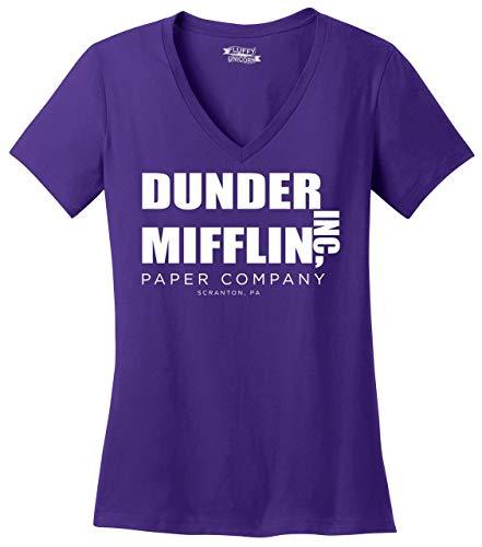 Comical Shirt Ladies Dunder Mifflin Paper Company Funny TV Show Shirt V-Neck Tee