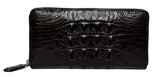 - CHERRY CHICK Men's Genuine Crocodile Skin Long Wallet/Alligator Backbone Zipper Around Business Clutch Handbag(Back Leather-Black)