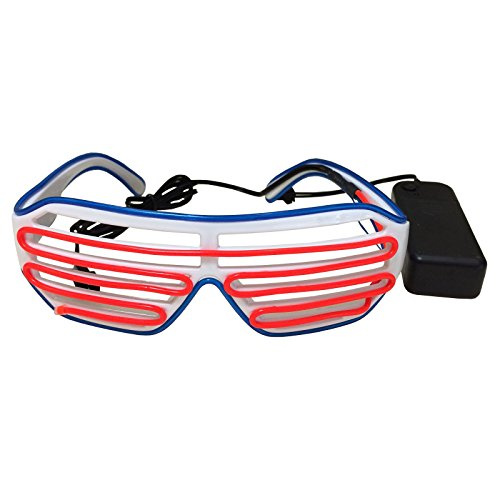 Fashion El Wire Neon LED Light Up Shutter Shaped Glasses for Costume Party