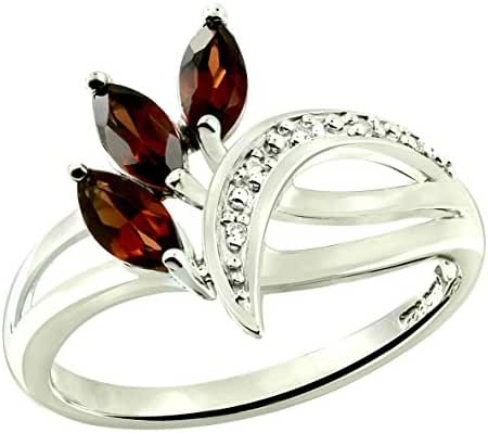 0.91 Carats Garnet with White Topaz Rhodium-Plated 925 Sterling Silver Ring