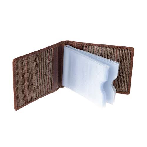 Tessere In E Credito Di Porta Slot Pelle Carte Per Marrone Schede Trasparenti Vera 10 Con Nuvola 6qan1