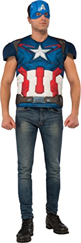 Rubie's Avengers Age Of Ultron Adult Captain America Muscle Chest Costume Top and Mask, As Shown, X-Large