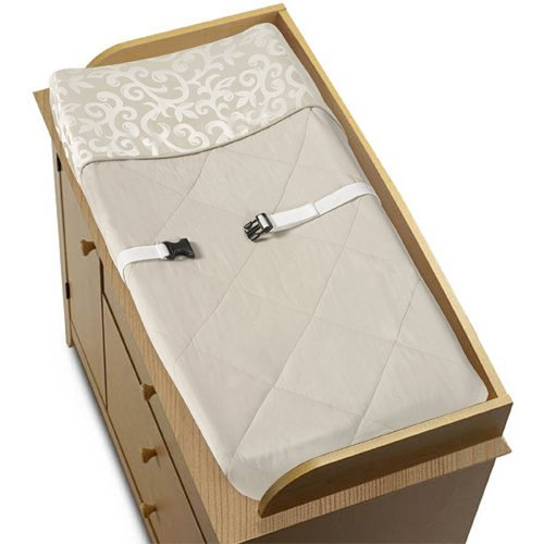 Champagne and Ivory Victoria Baby Changing Pad Cover by Sweet Jojo Designs