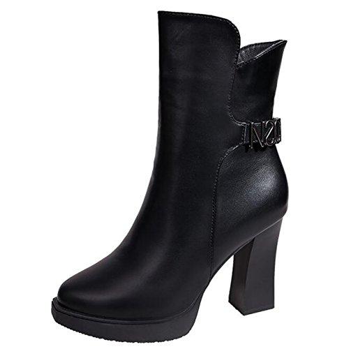 Platform Boots Heel Chukka Block Metal Women's Zip Mashiaoyi 5Fa4z