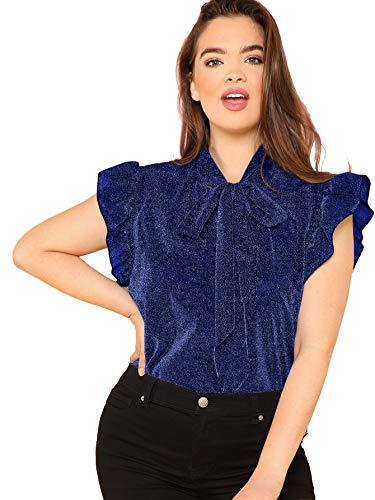 Romwe Women's Plus Size Ruffle Short Sleeve Tie Neck Glitter Party Blouse Tops Navy 2XL