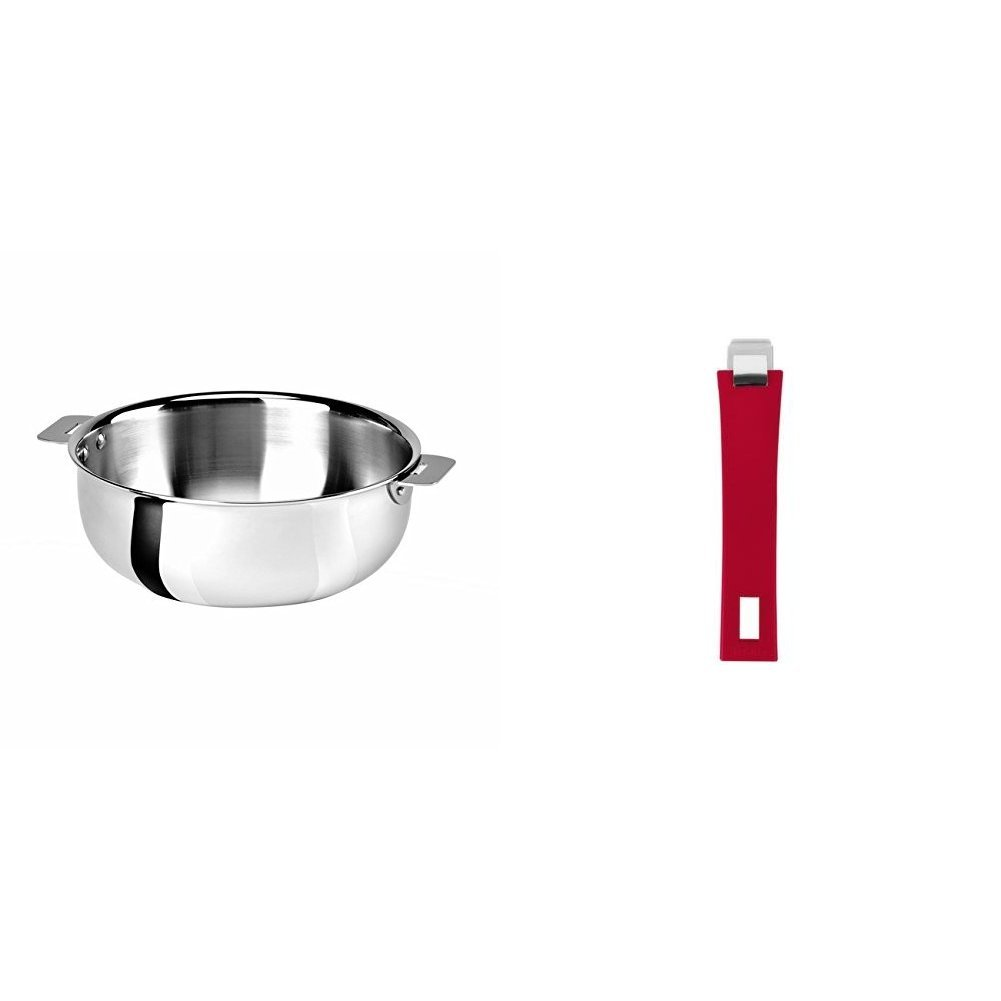 Cristel SR22QMP Saucier, Silver, 3 quart with Cristel Mutine Pmaf Handle, Long, Raspberry