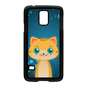 Orange Tabby Cat Black Hard Plastic Case Snap-On Protective Back Cover for Samsung? Galaxy S5 by DevilleArt + FREE Crystal Clear Screen Protector