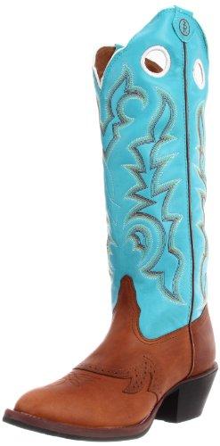 Tony Lama Women's Beige Buckaroo RR2002L Boot,Beige Renegade/Ranch Blue Baron Calf,8.5 B US