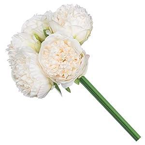 Royal Imports Peony Flowers Vintage Artificial Silk 5 Single Stems for Bouquet, Home Decoration, Wedding Centerpiece, Wreaths, Floral Arrangements, Ivory 53
