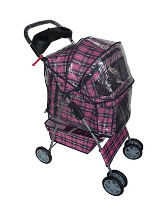 Pink Plaid 4 Wheels Pet Dog Cat Stroller W/raincover