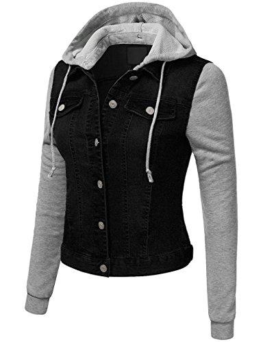 KOOLDO Womens Denim Jacket Lightweight Fleece Hoodie, Sleeve and Pockets-M-Black