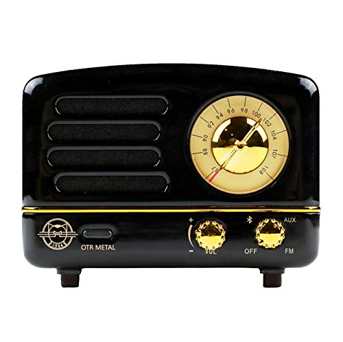 Muzen Portable Wireless High Definition Audio FM Radio Bluetooth Speaker, Metal Black, Travel Case Included – Classic Vintage Retro Design