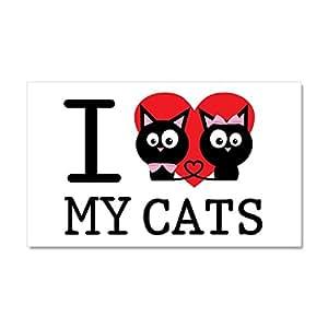 "CafePress - I Love My Cats - Car Magnet, 20""x 12"" Magnetic Bumper Sticker"